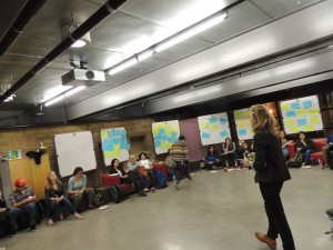 The author facilitating cross-class workshop